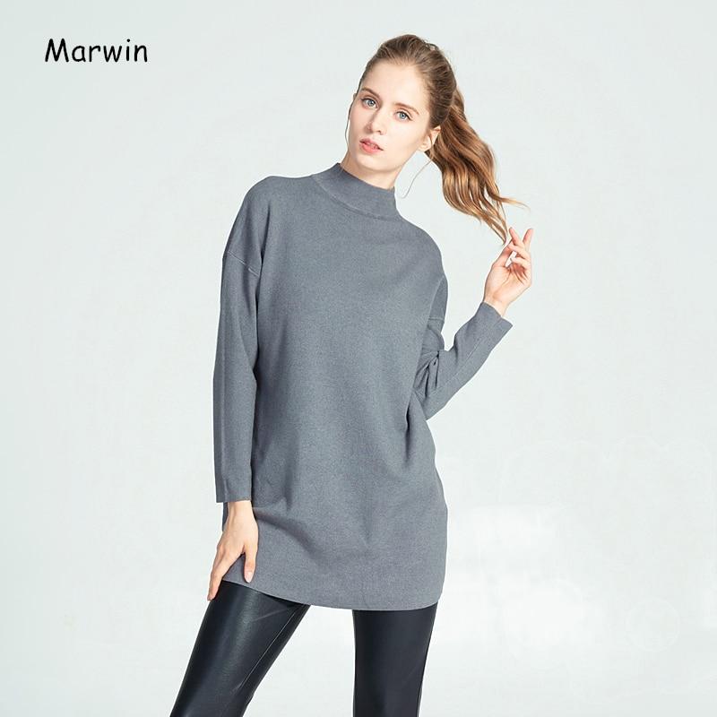 Marwin, новинка, зимняя, толстая, длинная, обычная, высокая, на выход, стильный женский свитер, мягкий, теплый, облегающий свитер, женские пуловер...