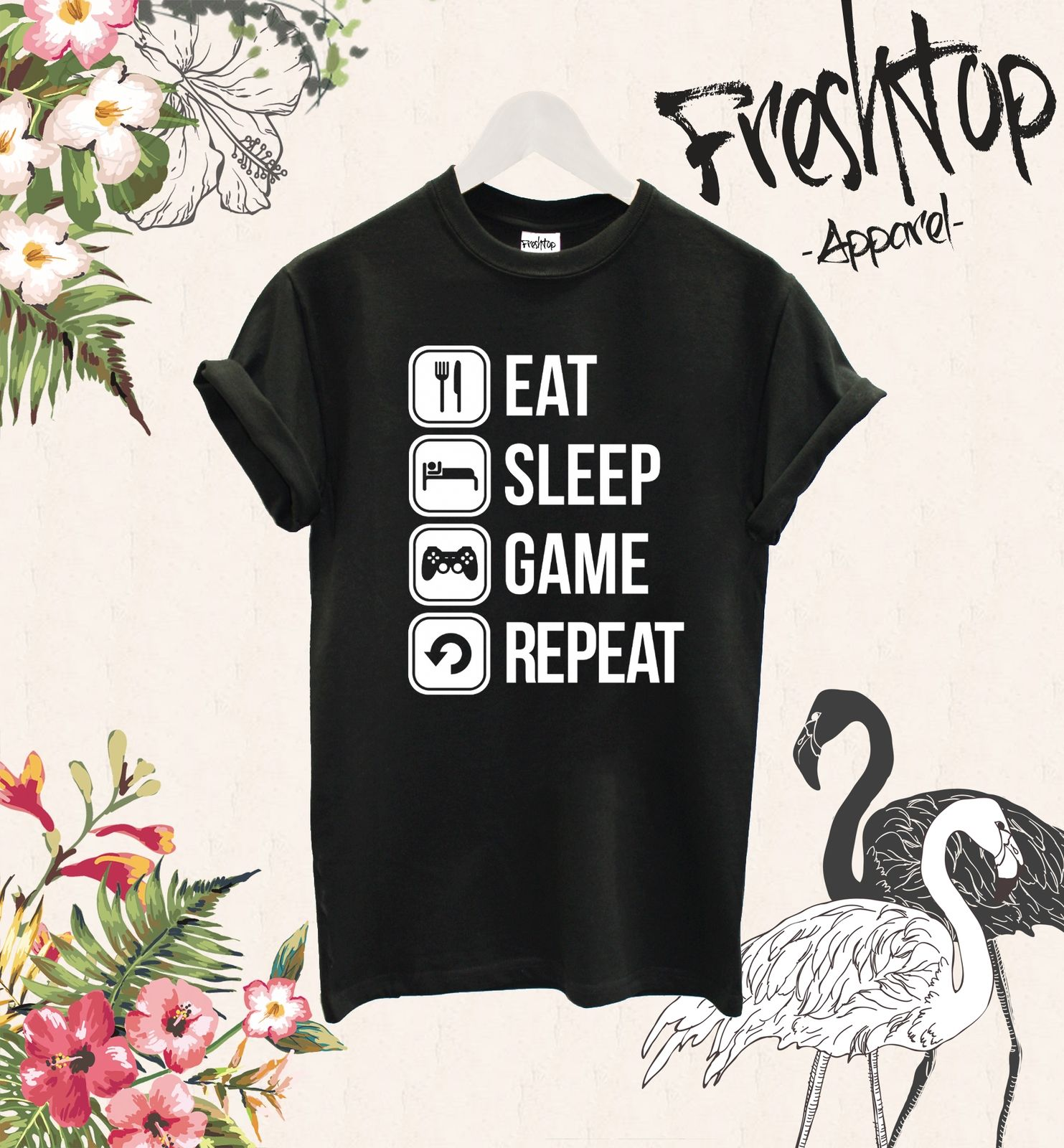 Eat Sleep Game Repeat T Shirt Twitch Youtube Gamer Play CS Go MMO RPG Gameboy Summer 2017 Short Sleeve Plus Size T-shirt image