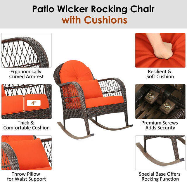2PCS Outdoor  Wicker Rocking Chair 5