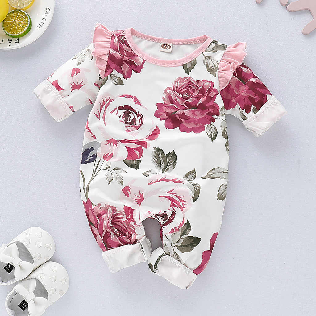 Newborn Girl Romper Colthes Long Sleeve Autumn Winter Floral Baby Romper For Girl Cute Ruffle Pink Infant Girl Body Jumpsuit NEW