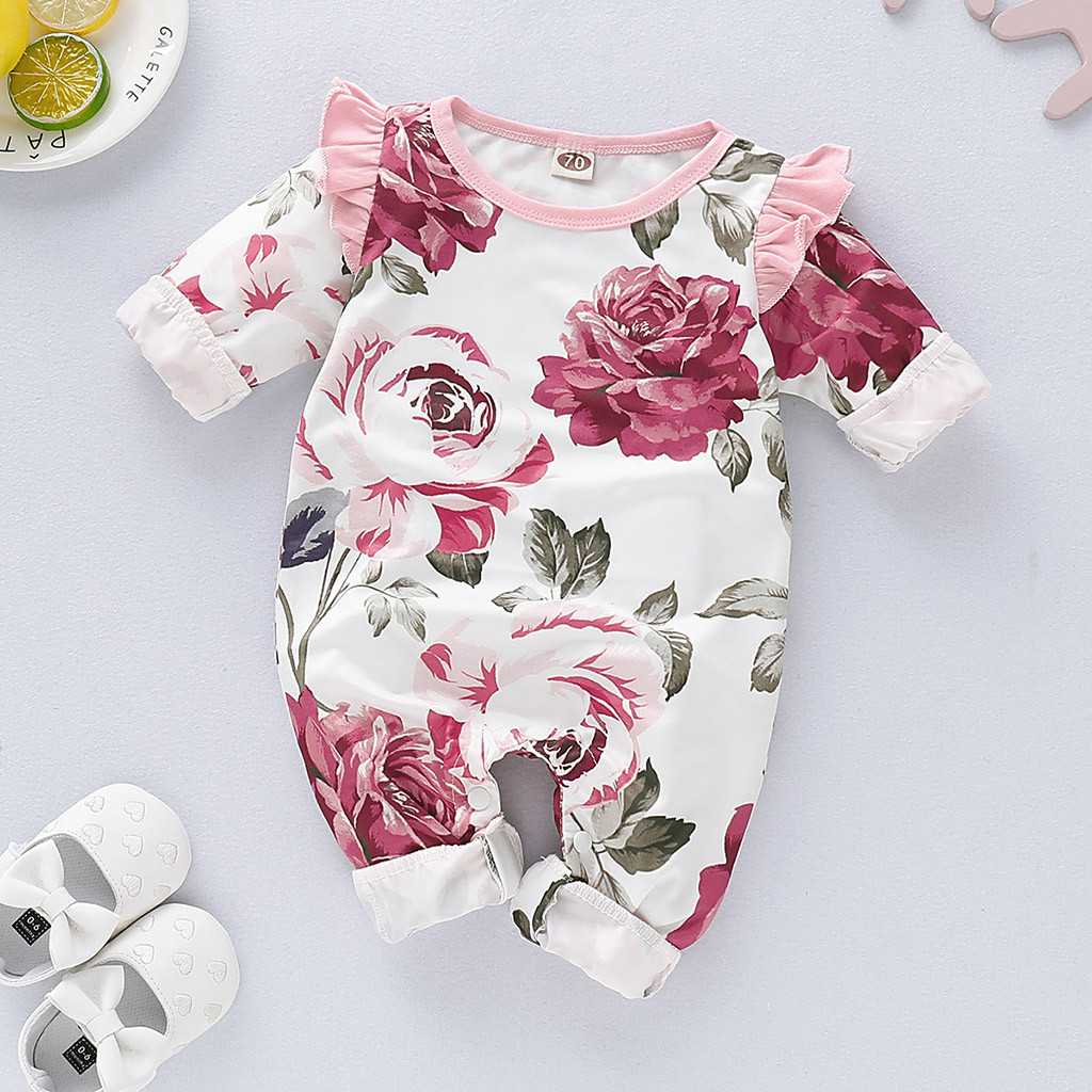 Baby Newborn Girls Floral Ruffled Long Sleeve Romper Jumpsuit Outfits Bodysuit