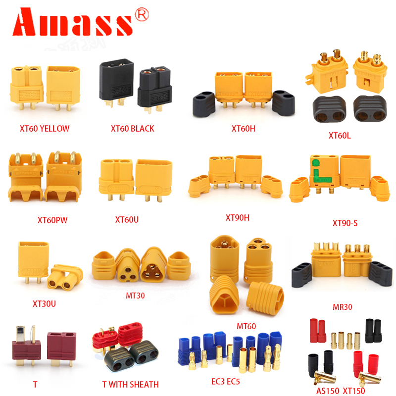AMASS 10pcs XT60 XT-60 XT 60 XT90 XT60H XT60L XT60U XT60PW XT30U XT90S T DEAN EC3 EC5 AS150 XT150 XT30PW XT90PW For Lipo Battery