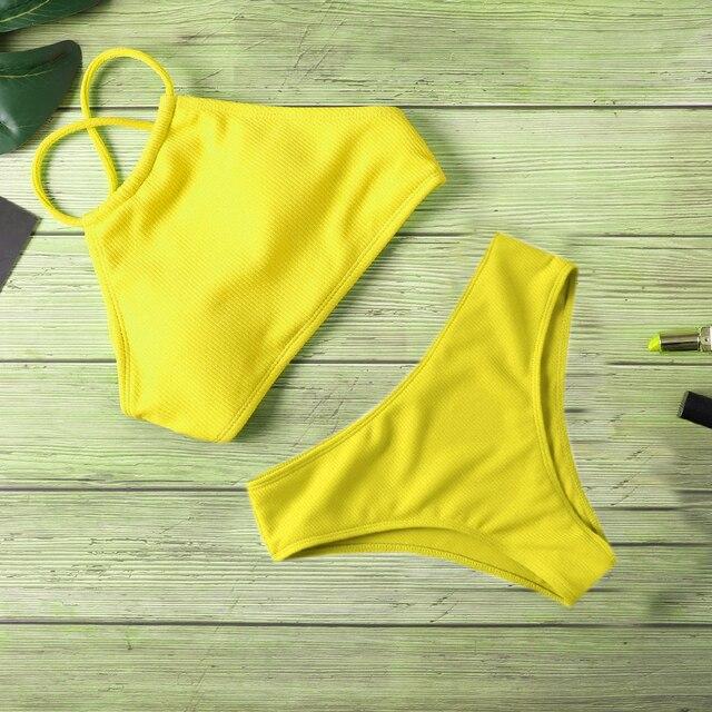 Ribbed Halter Top Biquini Bikini Set 4