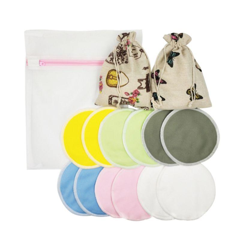 12 Pcs Reusable Breast Pads With Storage Bag Washable Organic Bamboo Fiber Breastfeeding Nursing Pads NEW