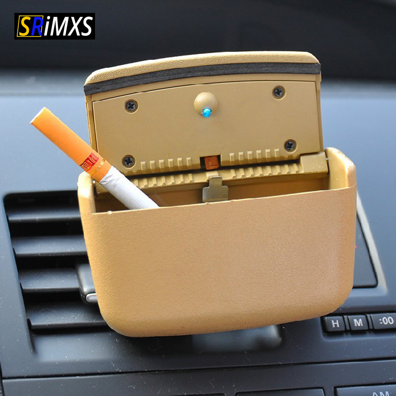 Car Ashtray Car Air Outlet Ashtray Car Cigarette Box Smoke Remover LED Ashtray For Car Portable Cigarette Box Car Accessories