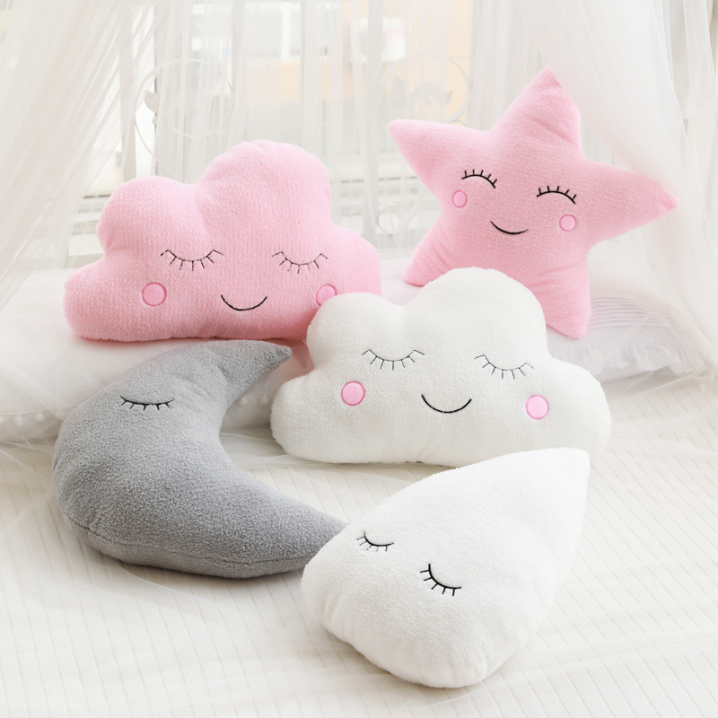 1pc Plush Sky Pillows Sleeping Smile Cloud Star Water Drop Moon Cushion Room Cot Decor Nature Pillow White Pink Grey