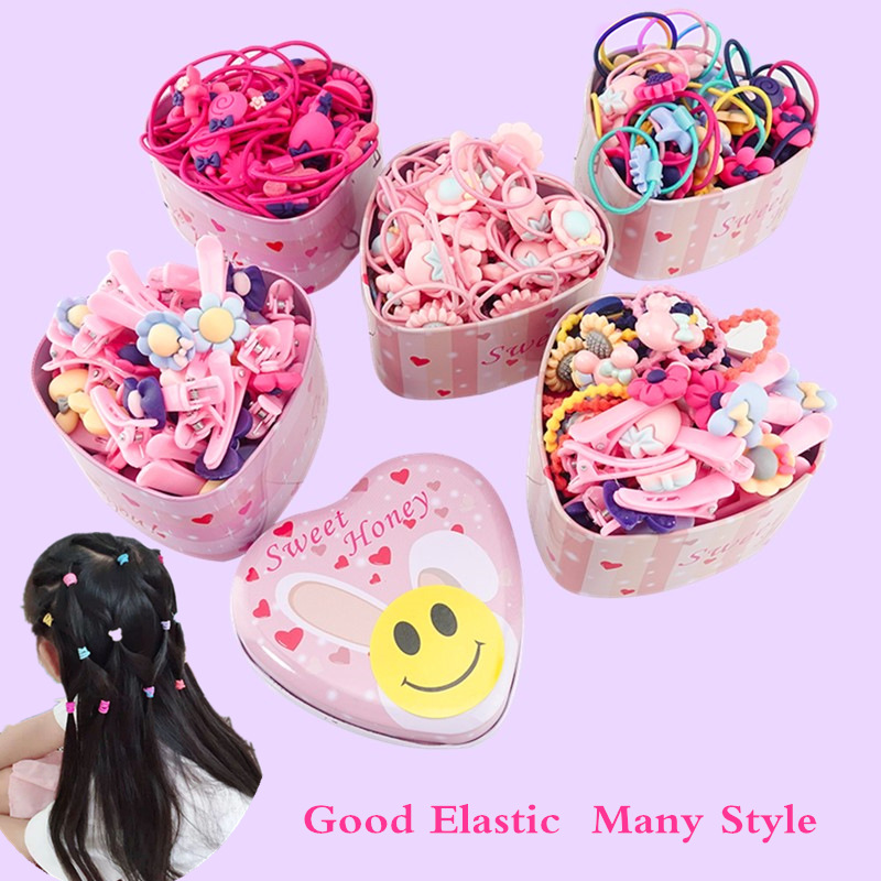 1box New Women Girls Colorful Basic Elastic Hair Rubber Bands Accessories for Kids Tie Hair Ring Rope Holder Headdress clips