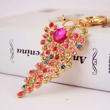 4 Colors Bling Rhinestone KeyChain Elegant Colorful Peacock Keychain Peafowl Peahen Keyring Bag Pendant Car Key Chain Ring