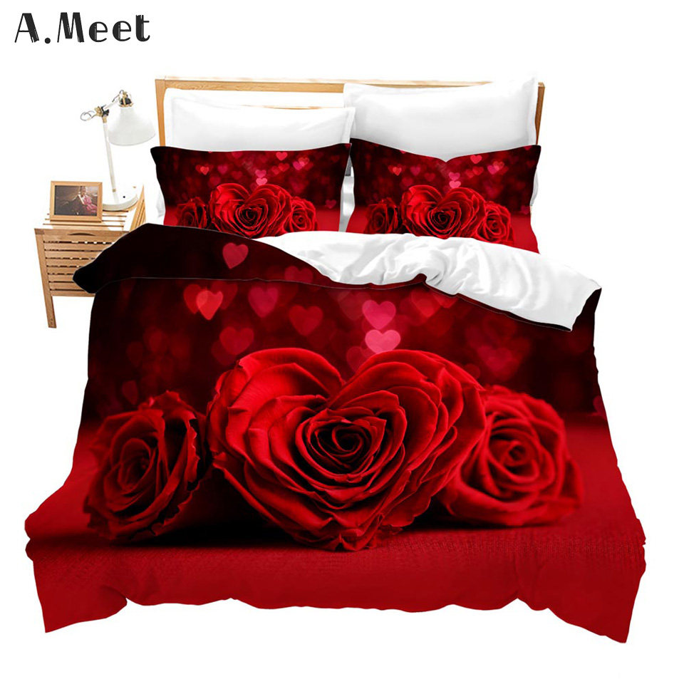 Pink Red Rose Bedding Set Queen 3d Gold Double Single Duvet Cover Bed Set Bed In A Bag Flowers Comforter Ensemble De Literie Bedding Sets Aliexpress