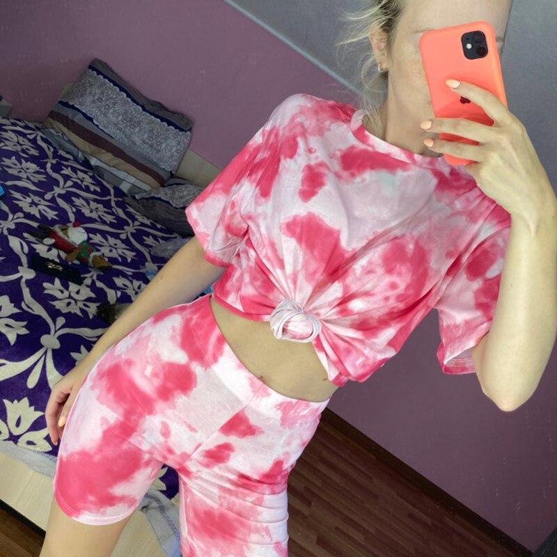 IAMHOTTY   Tie Dye Print Basic Tshirt Shorts Two Piece Set Women Casual Outfits lounge Wear Jogging Femme Biker Shorts Tees Summ 3