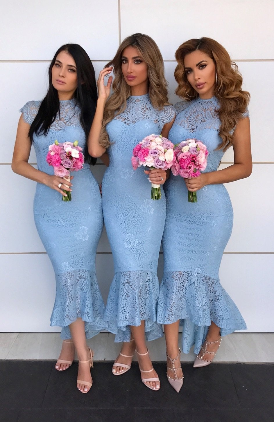 Vestido Para Festa 2020 Wedding Guest Dresses Elegant Ruffles Mermaid Bridesmaid Dress Blue Lace Bridesmaid Wedding Party Gowns