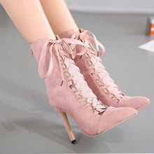 2020 New High Quality Gladiator Women Pump  Stiletto Sandal Boot Pointed Toe Strappy Lace Up Pumps Shoes Woman Sandals ZH100152 stylish rope style lace up keen high sandal booties sexy strappy open toe stiletto heel gladiator sandals fashion dress shoes