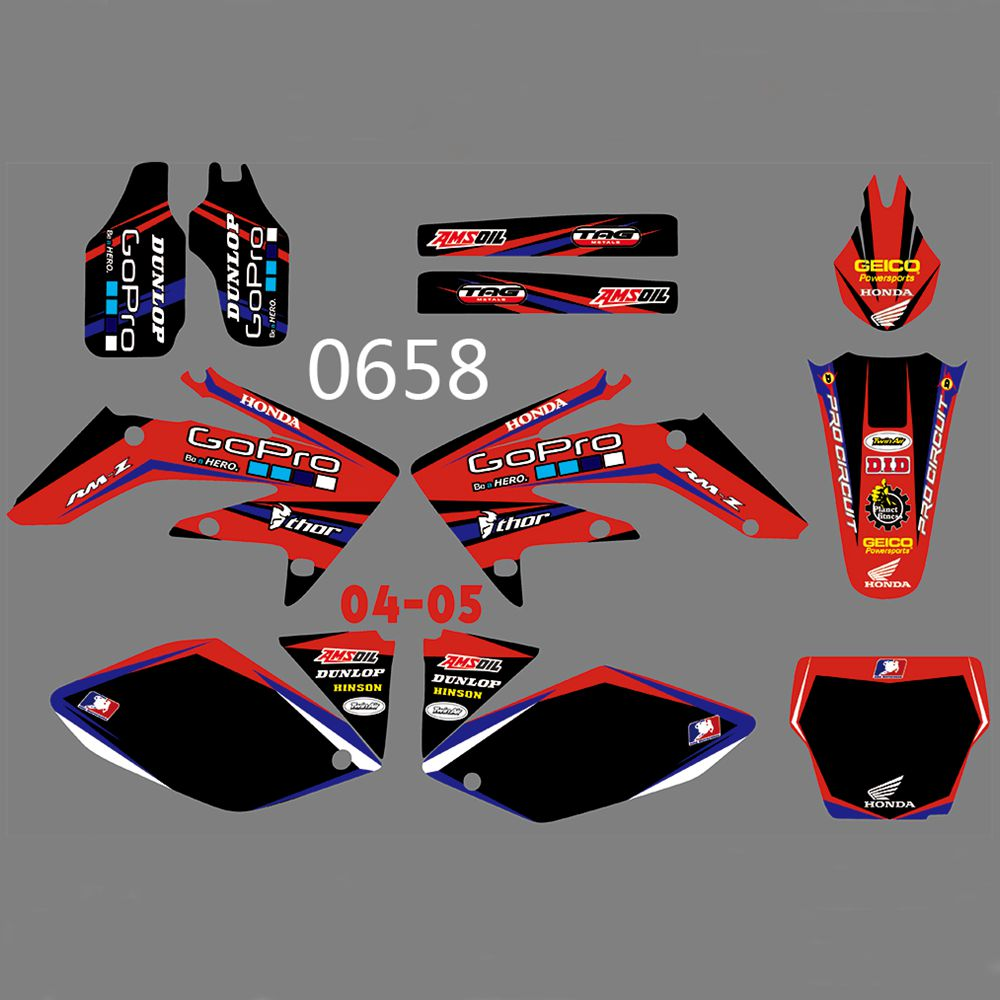 New Full Graphics Decals Stickers Custom Number Name Glossy Bright Stickers Waterproof For HONDA CRF250 CRF250R 2004 2005