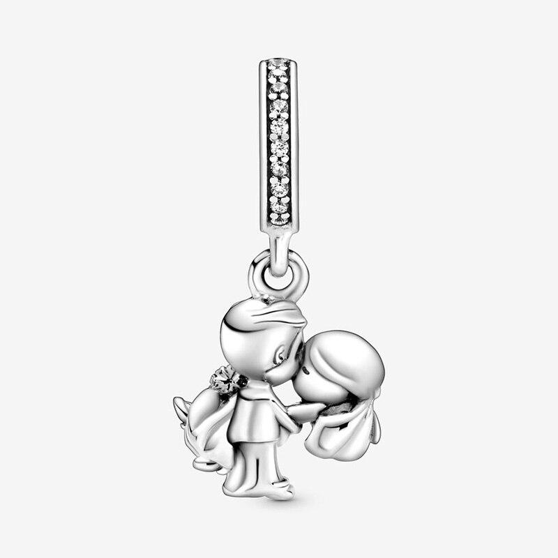 Hot Sale 925 Sterling Silver Beads Married Couple Dangle Charms Fit Original Pandora Bracelets Women DIY Jewelry
