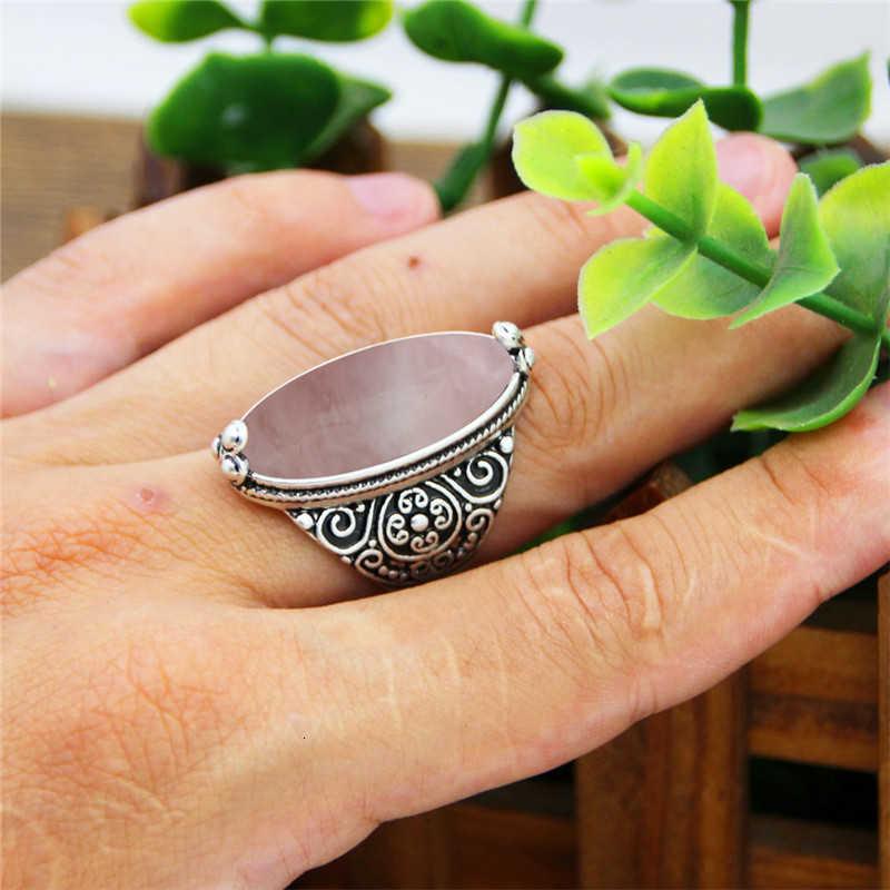 VINTAGE Eye ควอตซ์แหวนโบราณหินธรรมชาติแฟชั่นแหวนดอกไม้