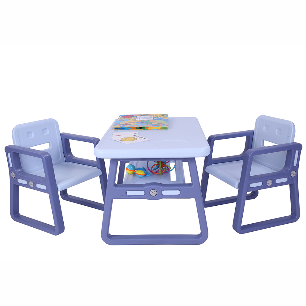 Kids Table And Chairs,Children Table Furniture With Storage Rack For Toddlers Reading,Learning, Dining,1 Kids Table 2 Chairs