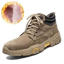 Ботинки больших размеров 39-48 Мужская зимняя обувь кожаные ботинки высокого качества Мужская обувь теплые плюшевые зимние ботинки на меху для мужчин