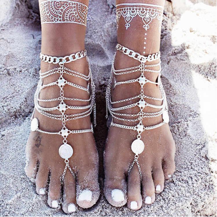 金属重工業コイン多層タッセルチェーンアンクレットヨーロッパとアメリカの宝石 браслет на ногу 足首自由奔放に生きる