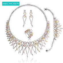 MECHOSEN Unique Design Luxury Wedding Jewelry Sets Rose Gold-color Zirconia Choker Necklace Earrings Bracelet Ring Set For Women(China)