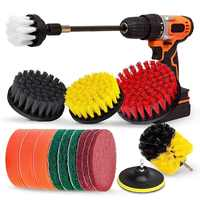 Drill Brush Set, Extend Long Attachment, Scrub Pads, Sponge, Power Scrubber Cleaning Kit for Grout, Tile, Carpet, Sink, Bathtub,