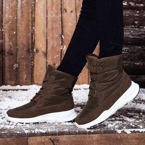 Image 5 - SKRENEDS damskie śniegowe buty zimowe buty ocieplane grube dno platformy wodoodporne botki dla kobiet grube futrzane bawełniane buty rozmiar