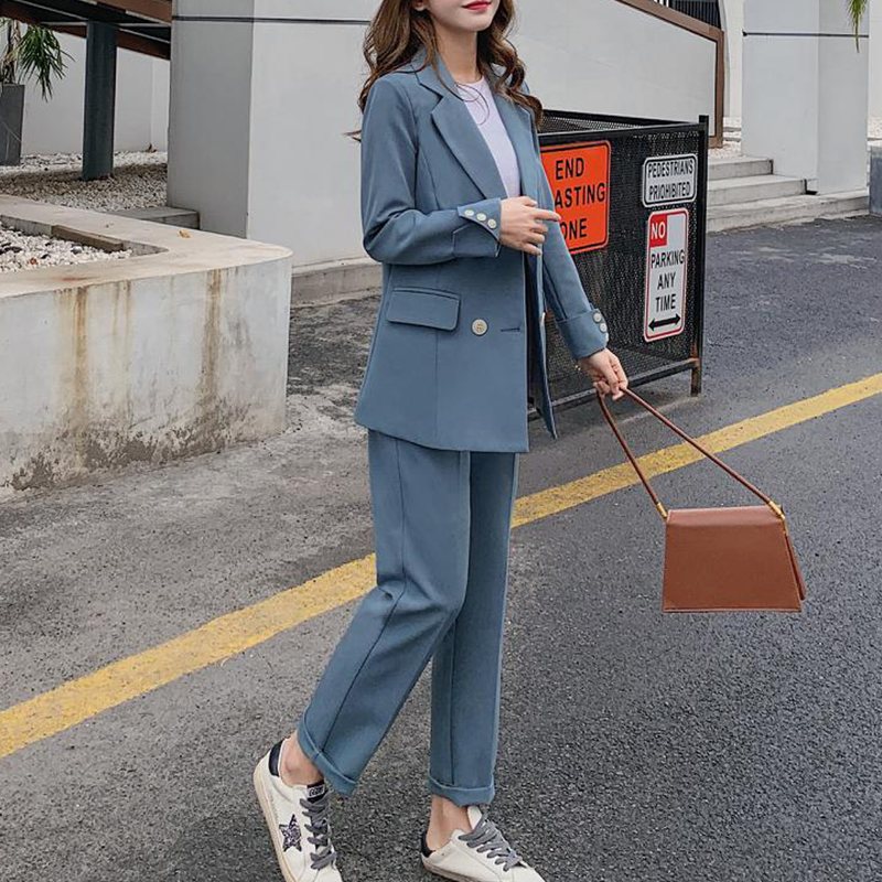 Complete Suit For Women 2 Piece Gray Blue Blazer Suits Office Ladies Long Sleeve Double-breasted Pocket 2020 Spring Slim Pant