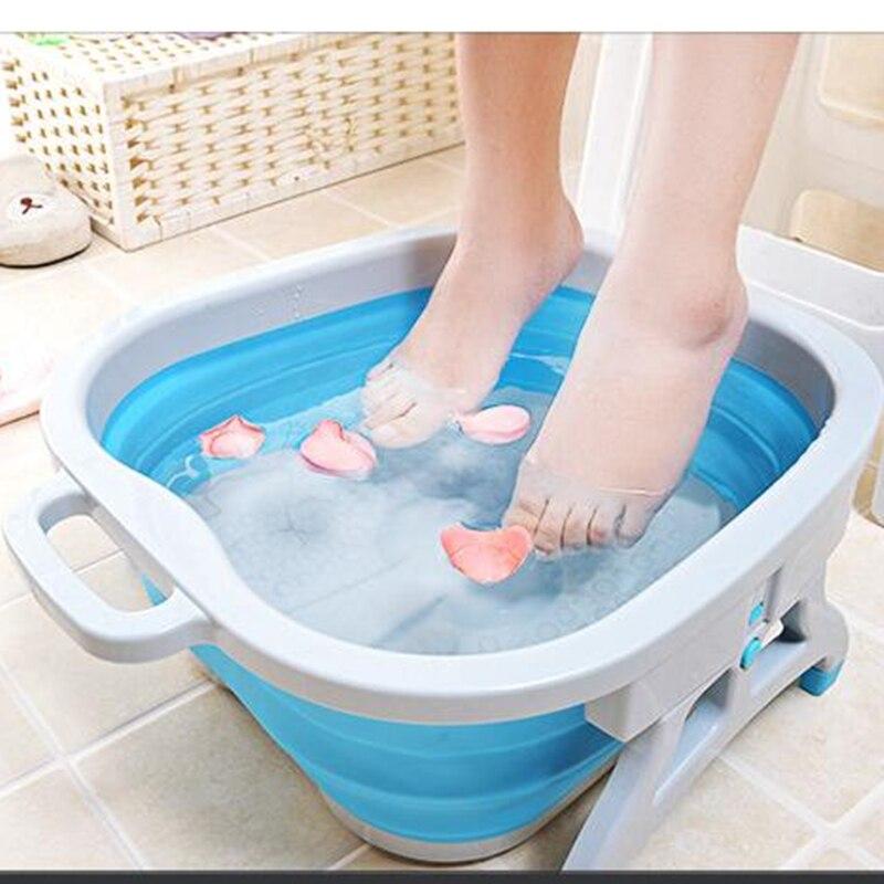 Foldable Foot Basin Silicone Folding Cube Bathroom Plastic Foot Bath Basin Footbath Portable Washbasin Massage Bucket Home Tool