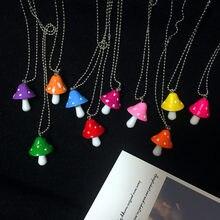 Nova moda resina dos desenhos animados imitação cogumelo pingente colar para mulheres homens colorido simples bonito charme colares jóias presente