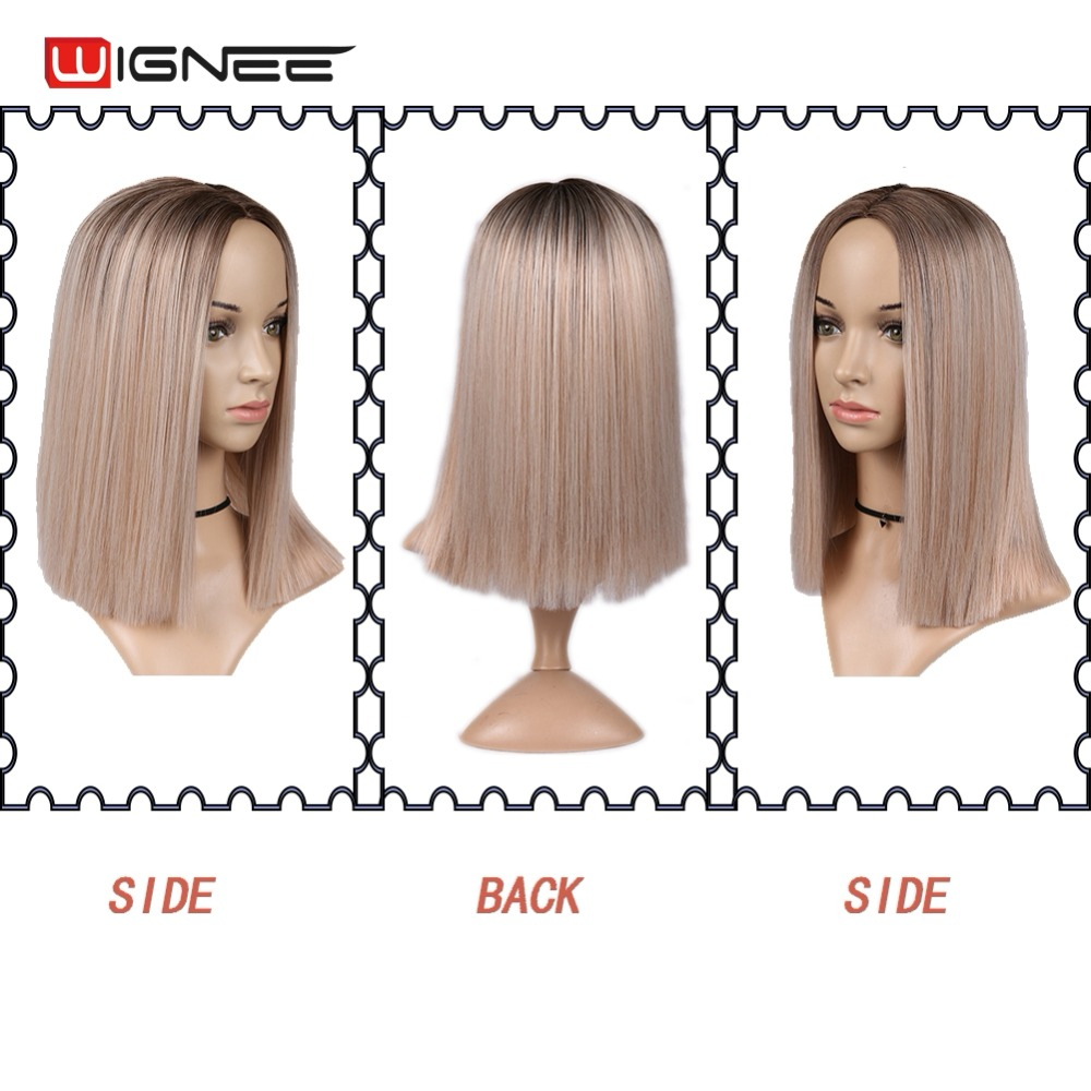 H825383c0606145e09fc2c5326a313588z - Wignee 2 Tone Ombre Brown Ash Blonde Synthetic Wig for Women Middle Part Short Straight Hair High Temperature Cosplay Hair Wigs