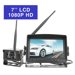 7 inch Truck Wireless High Definition Parking System Wired Backup Camera Night Vision for RV/Truck/Trailer 2 Video Channels 2.4G