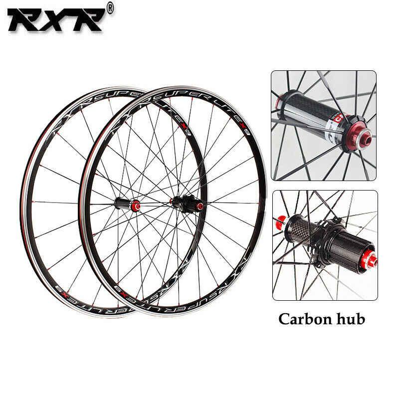 RXR 700c roues carbone 7/8/9/10/11 vitesse vélo de route roues ensembles F & R pneu jante roue pneu V frein QR 100/130mm
