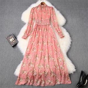Женское шифоновое платье с длинным рукавом, длинное платье с принтом, расшитое бисером, с поясом на резинке, в богемном стиле, весна 2020