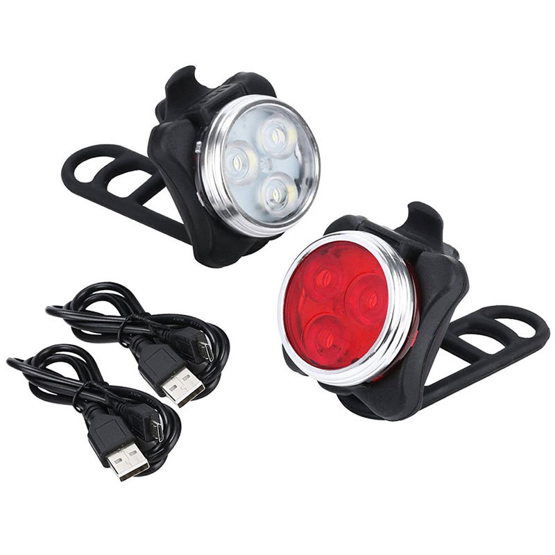 1 <font><b>Set</b></font> 4 Modes <font><b>USB</b></font> Rechargeable Cycling Bicycle <font><b>Light</b></font> 3 LED Head Front Tail Clip <font><b>Light</b></font> Lamp Outdoor Cycling <font><b>Bike</b></font> Accessories image