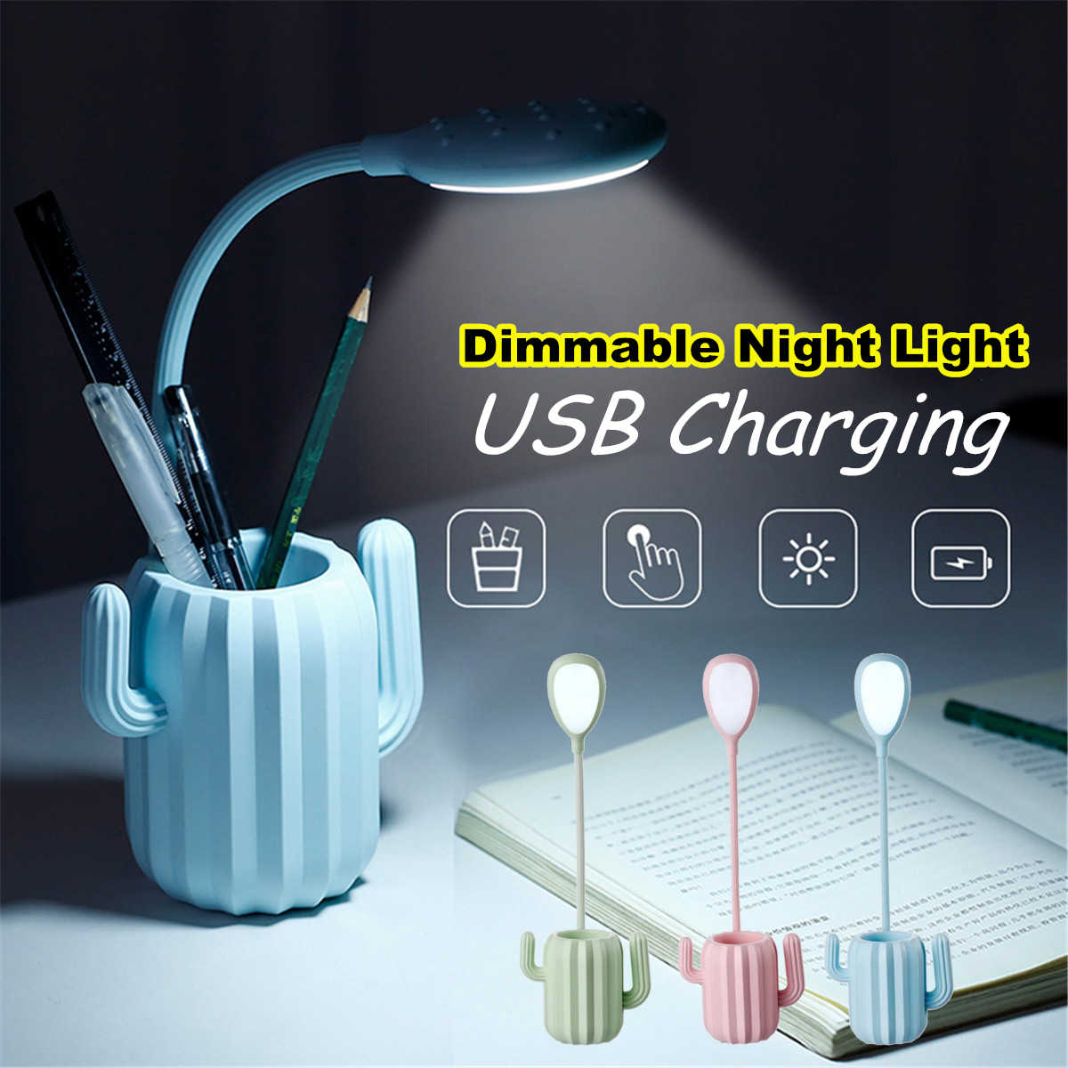 Multiuse Cactus LED Folding Desk Lamp 1200mA USB Charging Touch Switch Table Light Student Night Light with Pen Storage Holder