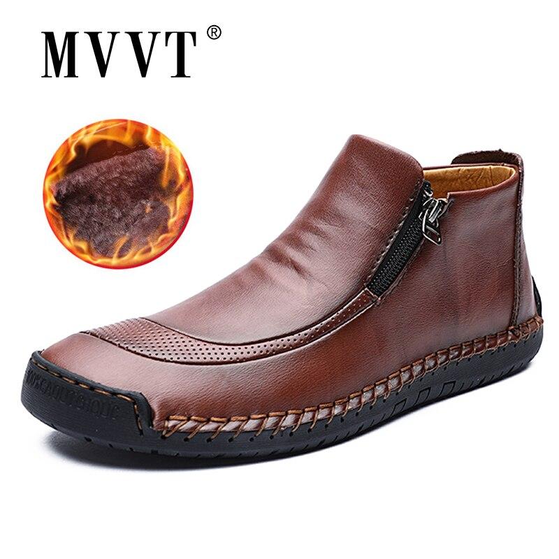 Plus Size Men Winter Boots Split Leather Boots Men Snow Boots Super Comfort Winter Shoes Men Ankle Boots Fur Men Shoes Snow