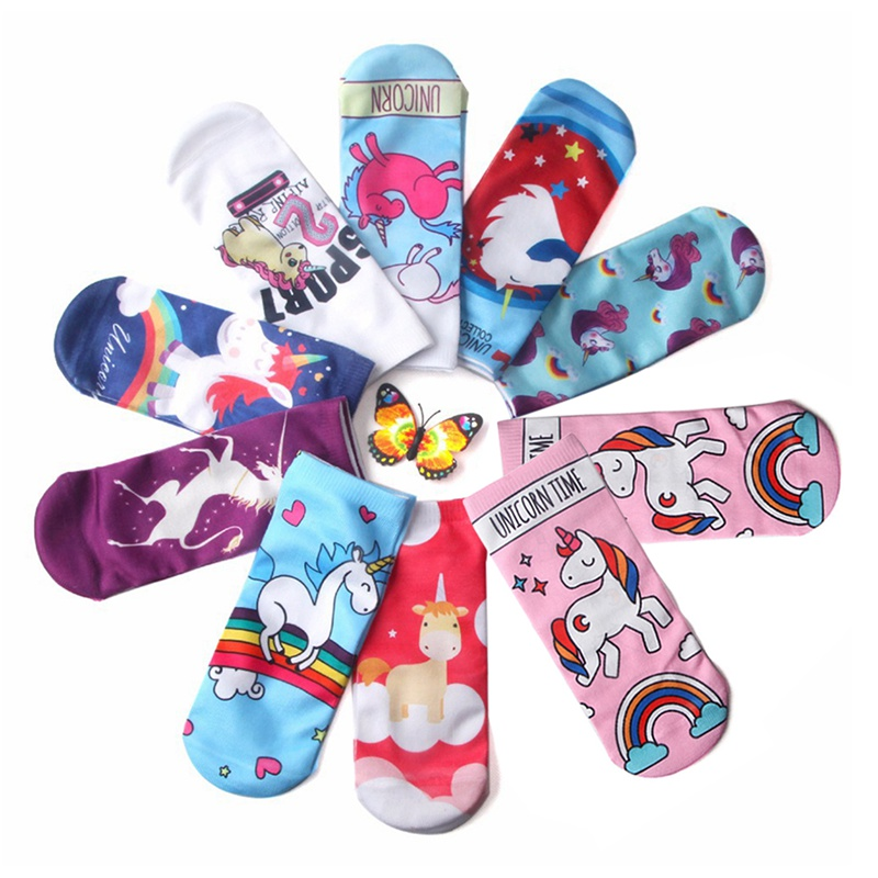 2019 New Children Christmas Spring Funny Socks Colorful Unicorn Soft Cotton Socks Sweet 3D Single-Sided Printed Socks