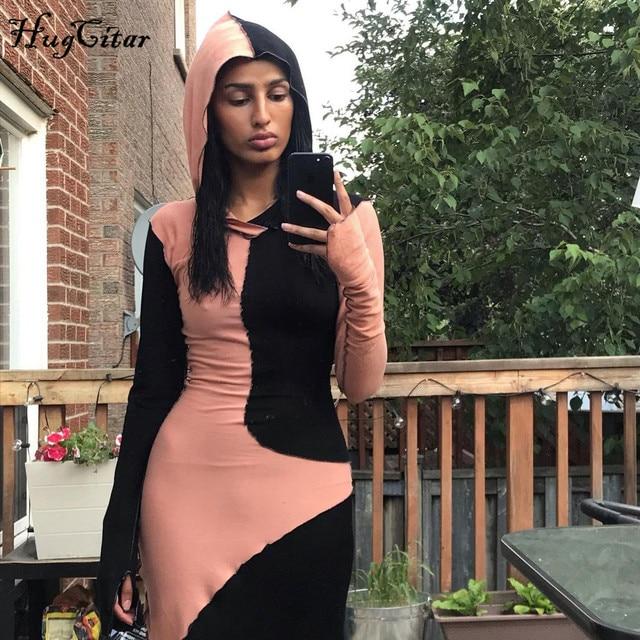Женское платье макси Hugcitar, с длинным рукавом, с капюшоном, в стиле пэчворк, на осень и зиму, Повседневная Уличная одежда, 2020 6