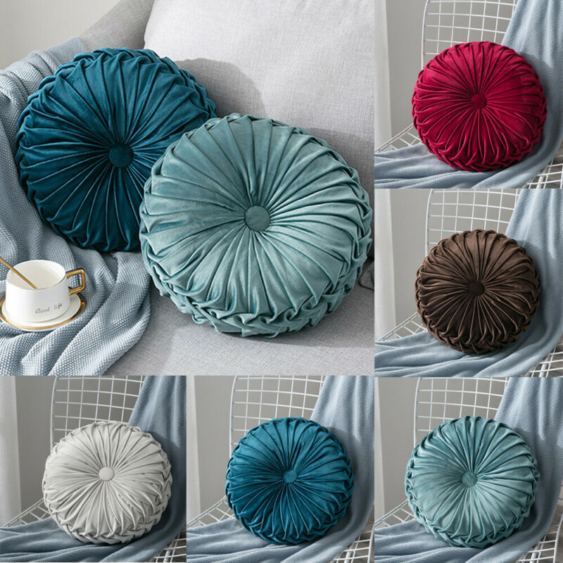 Velvet Pleated Round Floor Cushion Pillow Pouf Throw Home Sofa Decor