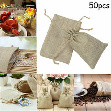 50x Bag Natural Linen Pouch Drawstring Burlap Jute Sack Jewelry Gift Wedding Travel Storage Pouch Mini Candy Jute Packing Bags F(China)