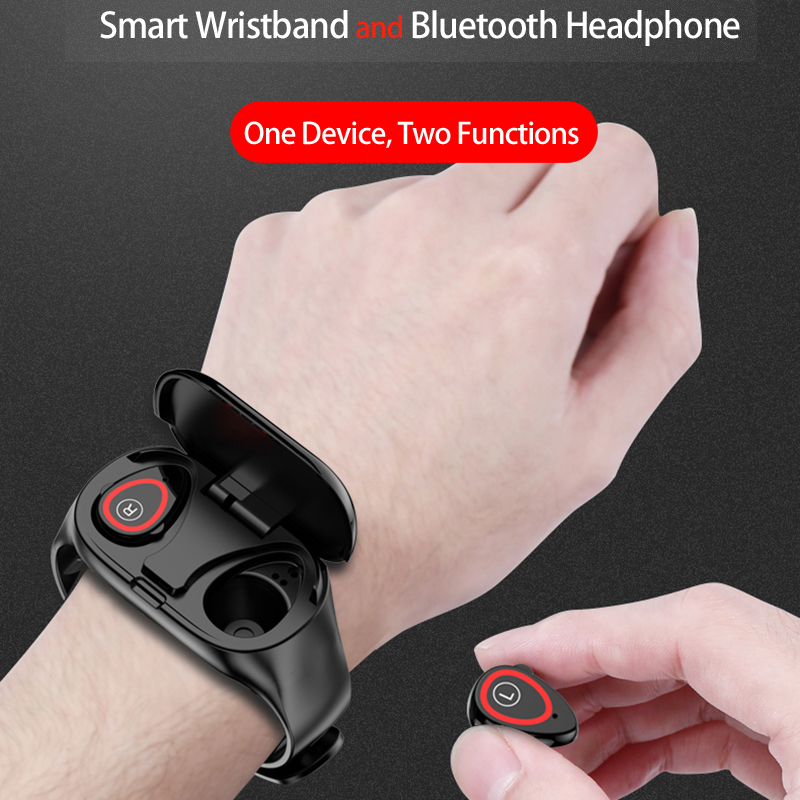 Smart Watch Men Women Bluetooth Headphone headsets Hate Rate Blood Pressure Monitor Sport WristBand Fitness Tracker Bracelet in Smart Wristbands from Consumer Electronics