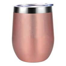 12Oz Stainless Steel Insulated Wine Glass Double Wall Coffee Mug Insulated Wine Tumbler With Lid For Champaign Cocktail Beer Off(China)