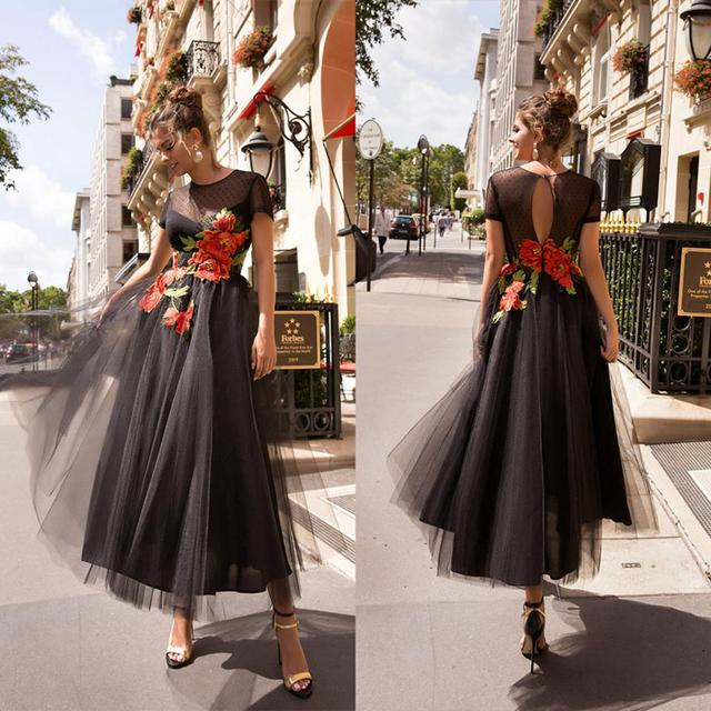 Black Cocktail Dresses Jewel Neck Tulle Embroidery Ankle Length Cheap Prom Dress Custom Made Homecoming Gowns