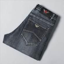 Men Denim Jeans Good Quality Slim Elastic Italy Eagle Brand Fashion Business Trousers Classic Style Straight Denim Pants Size 40
