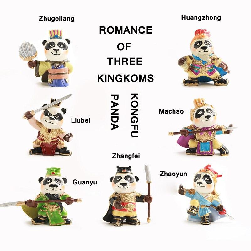 E-FOUR 7 pièces voiture maison ornement mignon Panda animaux en peluche jouets en peluche mignon poupées cadeaux maison voiture ornements décor cadeau de noël
