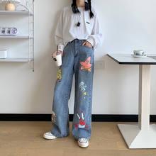 Calças de brim das mulheres dos desenhos animados bonito hip hop calças moda solta rock jeans harajuku outono alta rua casual engraçado calça streetwear feminino