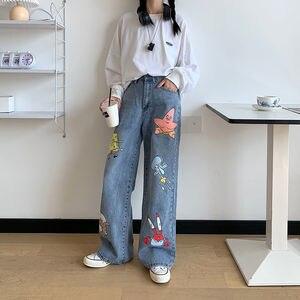 Джинсы женские с мультяшным принтом, милые модные штаны в стиле хип-хоп, свободные джинсы в стиле рок, повседневные Смешные уличные брюки в с...