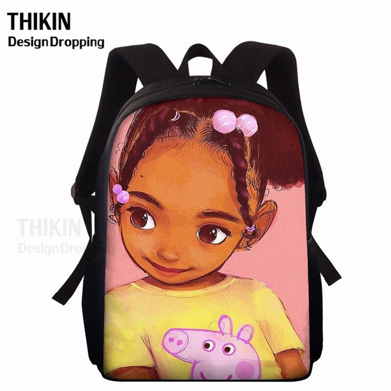 New Art Black African Girls Print School Bags 15inch Bookbags For Teenager Large Capacity SchoolBag Kids Cute Primary Backpack