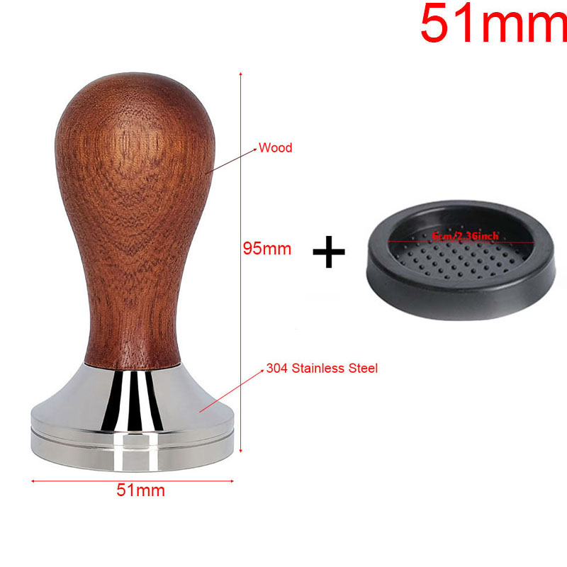 AREYOUCAN 304 Stainless Steel Coffee Tamper Mat Wood Handle Coffee Powder Hammer 41/49/51/53/58mm Cafe Accessories