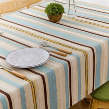 Simanfei Tablecloth Nordic Minimalist Modern Striped Table Cloth Living Room Coffee Fabric Cotton Rectangle Tablecloths