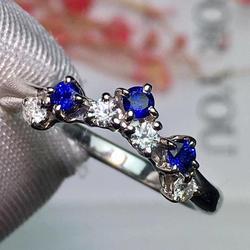 Ювелирные изделия Pt900 Настоящее Платиновое золото 100% натуральный синий сапфир 0.21ct драгоценные камни сапфировые бриллианты женские обручал...